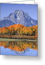 Fall Reflection At Oxbow Bend Greeting Card