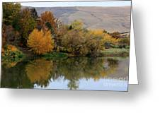 Fall Reflection Below The Hills In Prosser Greeting Card