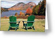 Fall Scenic With  Adirondack Chairs At Jordan Pond Greeting Card