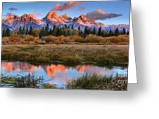 Fall Teton Tip Reflections Greeting Card