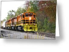 Fall Train In Color Greeting Card by Rick Morgan