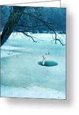 Fallen Through The Ice Greeting Card by Jill Battaglia