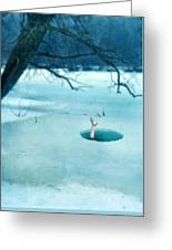 Fallen Through The Ice Greeting Card by Jill Battaglia