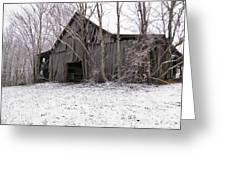 Falling Barn Greeting Card