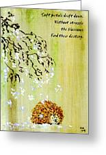 Falling Blossoms Hedgehog Haiku 3 Greeting Card