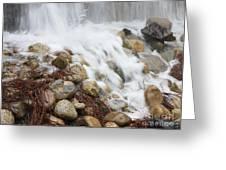 Falling On Rocks Greeting Card
