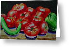 Falling Tomato Greeting Card by Ron Sylvia