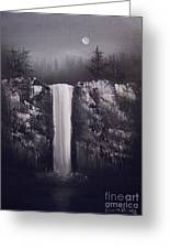 Falls By Moonlight Greeting Card by Crispin  Delgado