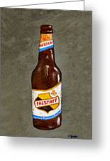 Falstaff Beer Bottle Greeting Card by Elaine Hodges