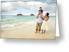 Family At Lanikai I Greeting Card by Brandon Tabiolo - Printscapes