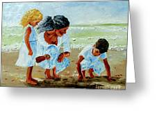 Family At The Beach Greeting Card