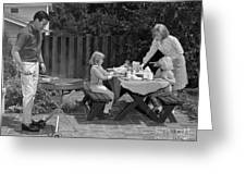 Family Bbq, C.1960s Greeting Card