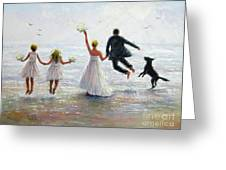 Family Beach Wedding Greeting Card
