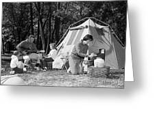 Family Camping, C.1970s Greeting Card