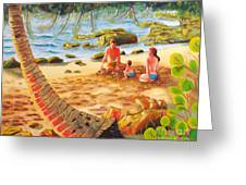 Family Day At Jobos Beach Greeting Card by Milagros Palmieri