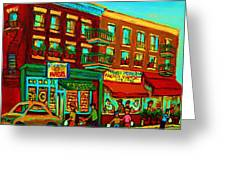 Family Frolic On St.viateur Street Greeting Card by Carole Spandau