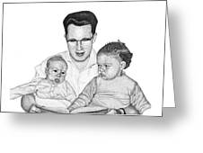 Family In Pointillism Greeting Card