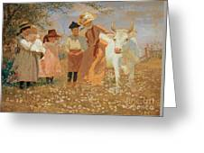 Family Group With Cow Greeting Card