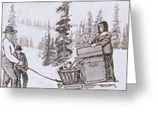 Family Moving With Sled Historical Vignette Greeting Card