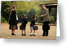 Family Of Four In Park Beside Bandstand Greeting Card