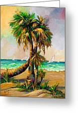 Family Of Palm Trees With Sail Boats Greeting Card