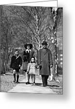 Family Out Walking On A Wintry Day Greeting Card