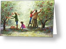 Family Picking Apples Greeting Card