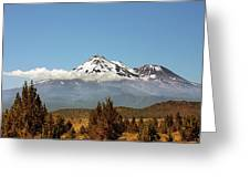 Family Portrait - Mount Shasta And Shastina Northern California Greeting Card