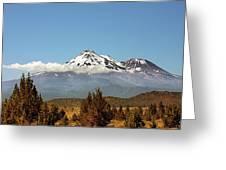 Family Portrait - Mount Shasta And Shastina Northern California Greeting Card
