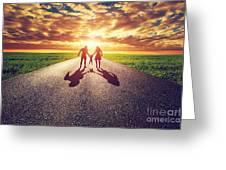 Family Walk On Long Straight Road Towards Sunset Sun Greeting Card