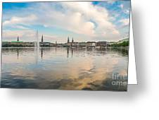 Famous Binnenalster In Hamburg Downtown At Sunset Greeting Card