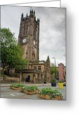 Famous Cathedral Of Manchester City In  Uk Greeting Card