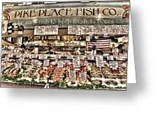 Famous Fish At Pike Place Market Greeting Card