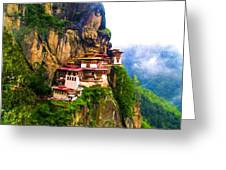 Famous Tigers Nest Monastery Of Bhutan 11 Greeting Card