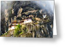 Famous Tigers Nest Monastery Of Bhutan 3 Greeting Card