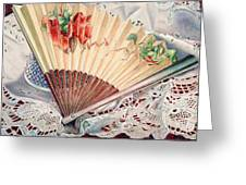 Fan And Lace Greeting Card