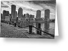 Fan Pier Boston Harbor Bw Greeting Card