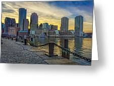 Fan Pier Boston Harbor Greeting Card