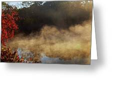 Fantastic Foggy River With Fresh Green Grass In The Sunlight. Greeting Card