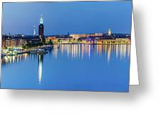 Fantastic Stockholm And Gamla Stan Reflection From A Distant Bridge Greeting Card