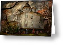 Fantasy - Haunted - The Caretakers House Greeting Card by Mike Savad