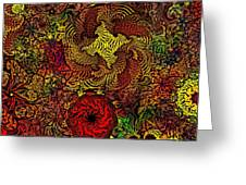Fantasy Flowers Woodcut Greeting Card