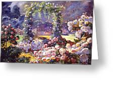 Fantasy Garden Delights Greeting Card by David Lloyd Glover