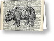 Fantasy Steampunk Rhinoceros Greeting Card by Anna W