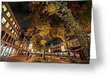 Fanueil Hall Boston Ma Autumn Foliage Greeting Card