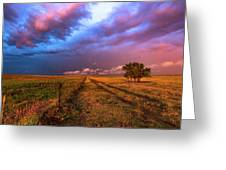 Far And Away - Open Prairie Under Colorful Sky In Oklahoma Panhandle Greeting Card