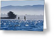 Faraway Paddle Boarders In Morro Bay Greeting Card by Bill Brennan - Printscapes