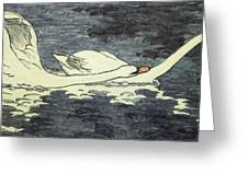 Farbiger Holzschnitt Zwei Schw Ne 1902 Greeting Card
