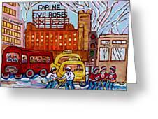 Farine Five Roses Montreal 375 Hometown Hockey Hotel Bonaventure Tour Bus Canadian Art C Spandau Art Greeting Card
