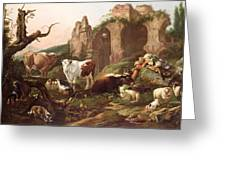 Farm Animals In A Landscape Greeting Card